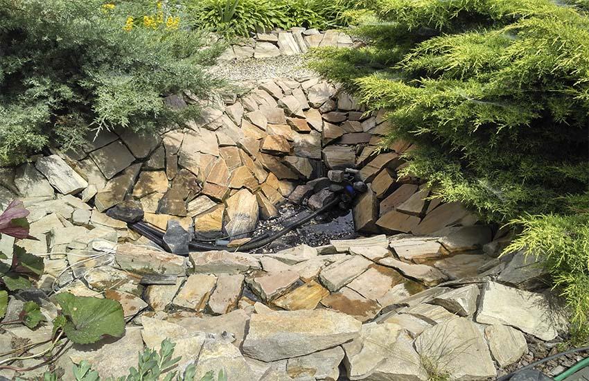 Очищенный от водорослей и ила пруд